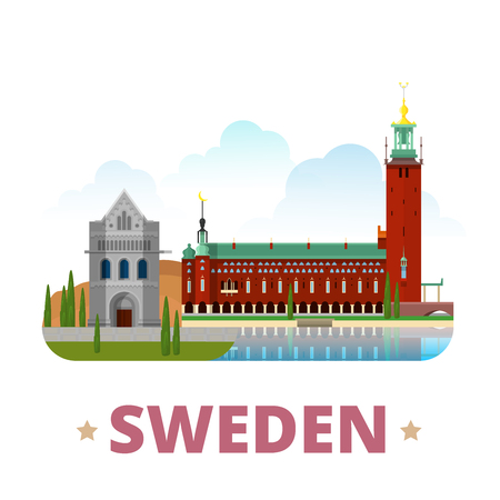 web site design template: Sweden country magnet design template. Flat cartoon style historic sight showplace web site vector illustration. World vacation travel sightseeing Europe European collection. Lund Cathedral City Hall. Illustration