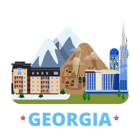 design template: Georgia country design template. Flat cartoon style historic sight showplace web site vector illustration. World travel Asia Asian collection. Gudauri mountain ski resort Batumi Vardzia cave monastery Illustration