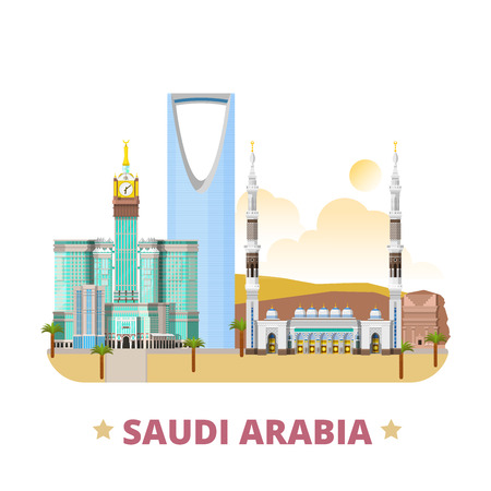 historic place: Saudi Arabia country flat cartoon style historic place web vector illustration. World travel sightseeing Asia collection. Madain Saleh Al-Masjid An-Nabawi mosque Kingdom Centre Abraj Al-Bait Towers.