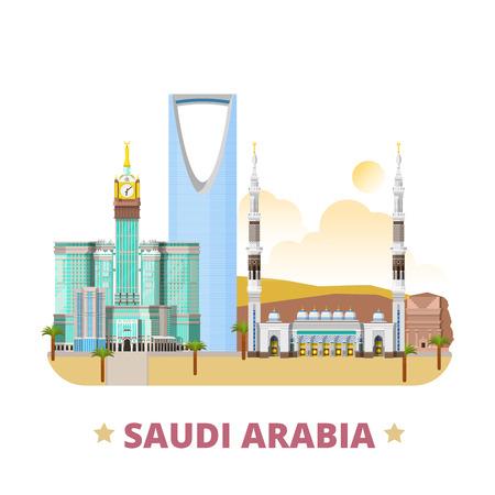 Saudi Arabia country flat cartoon style historic place web vector illustration. World travel sightseeing Asia collection. Madain Saleh Al-Masjid An-Nabawi mosque Kingdom Centre Abraj Al-Bait Towers.