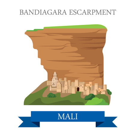 Bandiagara Escarpment in Mali. Flat cartoon style historic sight showplace attraction web site vector illustration. World countries cities vacation travel sightseeing Africa collection.