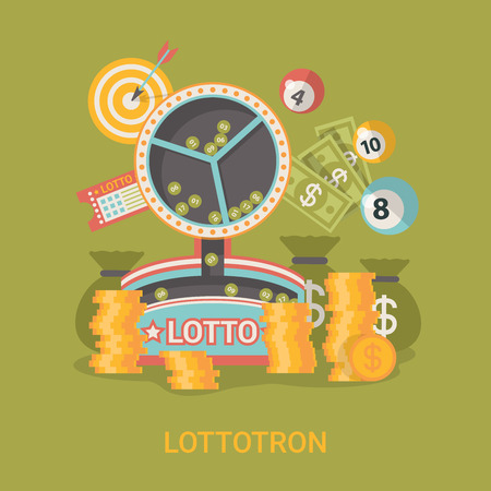 lucky: Lucky life concept vector illustration. Flat style Lottotron success web site banner image. Fortune money rich. Lotto coins dollars ball on green background.