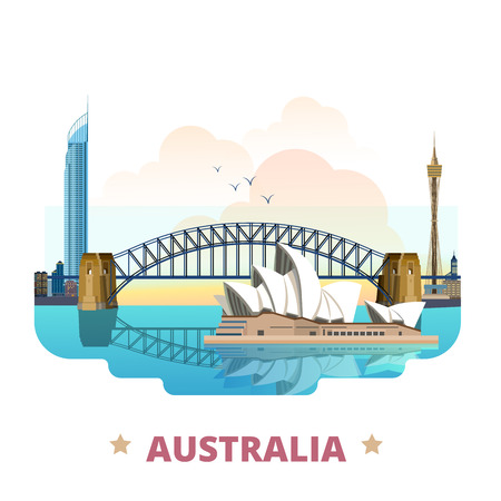 Australia country flat cartoon style historic sight web site vector illustration. World travel sightseeing Australian collection. Sydney Opera House Harbour Bridge Q1 tower in Gold Coast Queensland.