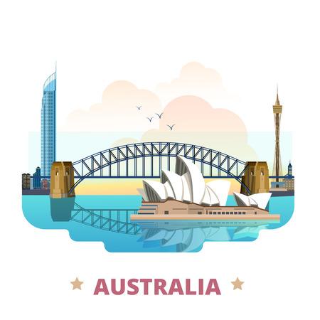 Australia country flat cartoon style historic sight web site vector illustration. World travel sightseeing Australian collection. Sydney Opera House Harbour Bridge Q1 tower in Gold Coast Queensland.