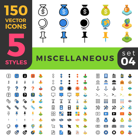 antic: 150 miscellaneous ui icon set. Linear outline flat isometric 5 styles icons. Five style vector mobile app application software interface web site element sign symbol 2d 3d object collection.