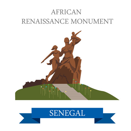 renaissance: African Renaissance Monument in Dakar in Senegal. Flat cartoon style historic sight showplace attraction web site vector illustration. World cities vacation travel sightseeing Africa collection.