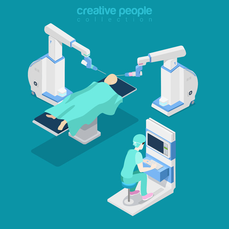 computer operator: Robotic robot-assisted brain surgery medical hospital healthcare computer electronic modern equipment doctor operator. Flat 3d isometry style web site vector illustration. Creative people collection. Illustration