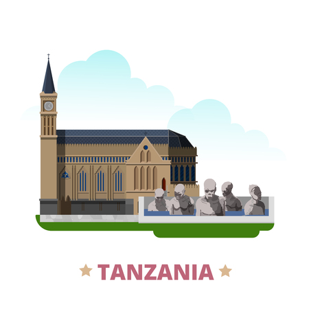 the country: Tanzania country design template. Flat cartoon style historic sight web vector illustration. World vacation travel Africa African collection. Christ Church in Zanzibar Tanzania Monument to the Slaves. Illustration
