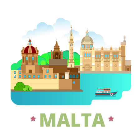 web site design template: Malta country design template. Flat cartoon style historic sight showplace web site vector illustration. World vacation travel sightseeing Europe European collection. Blessed Virgin of Ta Pinu Mdina.