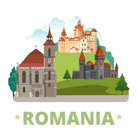 Romania country magnet design template. Flat cartoon style historic sight showplace web vector illustration. World vacation travel Europe European collection.Drakula's Corvin Castle Biserica Neagra. 일러스트