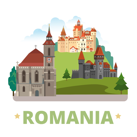 Romania country magnet design template. Flat cartoon style historic sight showplace web vector illustration. World vacation travel Europe European collection.Drakula's Corvin Castle Biserica Neagra. Vettoriali