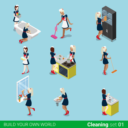 Isometric housemaid maid cleaning work icon set. Flat 3d isometry sexy swarthy blond female maidservant chambermaid cleaner servant web infographics vector illustration. Creative people collection.