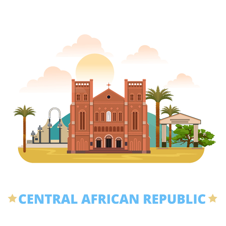 sightseeings: CAR Central African Republic country flat cartoon style historic sight vector illustration. World vacation travel Africa collection. Notre-Dame Cathedral Immaculate Conception Place de la Republique. Illustration