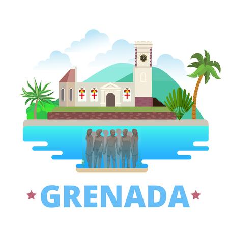 krajina: Grenada země výprava s plochou kreslený styl památka pozoruhodnost web vektorové ilustrace. Svět prázdniny jezdit Severní Amerika kolekce. Molinere Underwater Sculpture Park kostelík svatého Jiří.