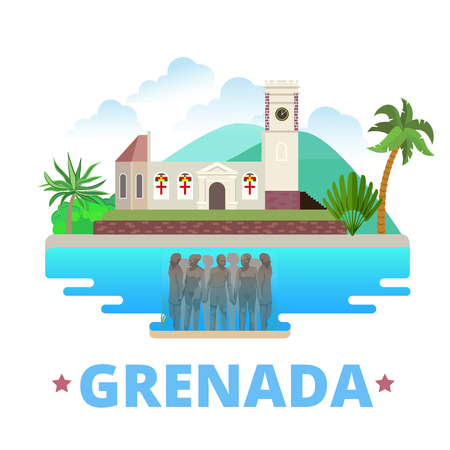 Grenada country design Flat cartoon style historic sight showplace web site vector illustration. World vacation travel North America collection. Molinere Underwater Sculpture Park St. Georges church.