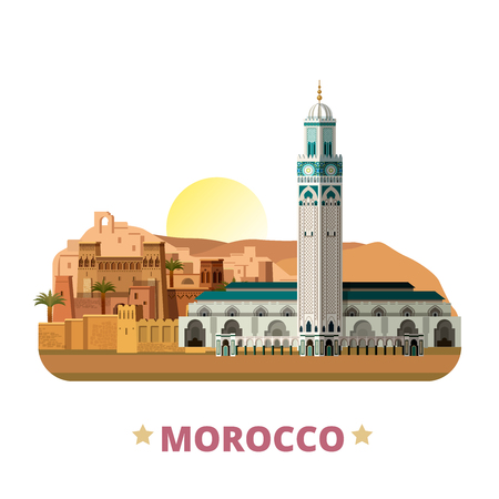 Morocco country magnet design template. Flat cartoon style historic sight showplace web site vector illustration. World vacation travel sightseeing Africa African collection. Hassan II Mosque Tamdaght 일러스트