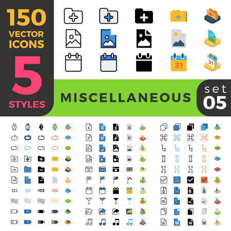 miscellaneous: 150 miscellaneous ui icon set. Linear outline flat isometric 5 styles icons. Five style vector mobile app application software interface web site element sign symbol 2d 3d object collection.
