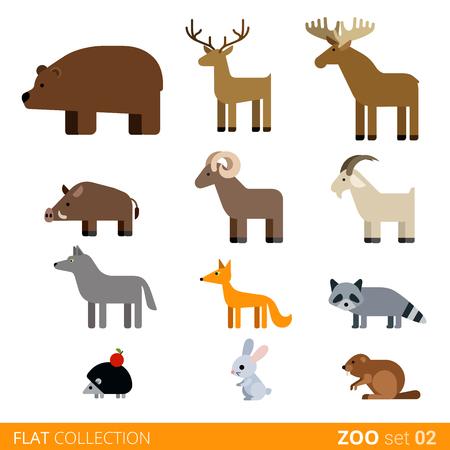 doe: Cool flat design trendy style vector animals icon set. Flat zoo children wild farm domestic animal cartoon collection. Coypu bear doe deer boar ram goat wolf fox raccoon hedgehog rabbit hare nutria.