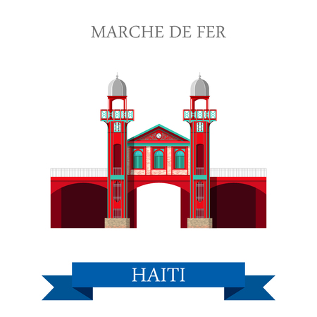 central america: Marche de Fer in Port-au-Prince Haiti. Flat cartoon style historic sight showplace attraction web site vector illustration. World countries cities travel sightseeing Central America collection.