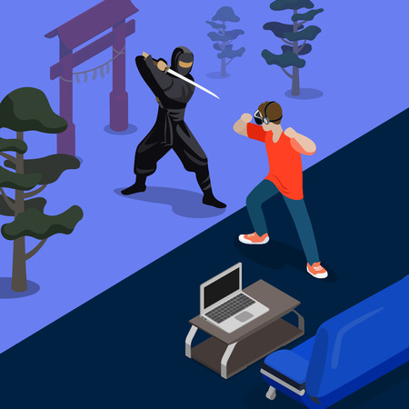 screenshot: Cartoon ninja fight game screen shot concept vector illustration. Isometric 3d flat style playing video game screenshot. Man Fighting with Samurai by hands. Sofa laptop carpet room nature background. Illustration
