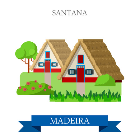 madeira: Santana Madeira in Portugal. Flat cartoon style historic sight showplace attraction web site vector illustration. World countries cities vacation travel sightseeing Africa island nation collection. Illustration