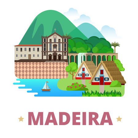 madeira: Madeira Island Portugal design template. Flat cartoon style historic sight vector illustration. World country travel Africa collection. Monte Palace Tropical Garden Santana Madeira Jesuits College. Illustration