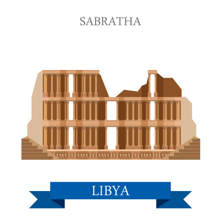 amphitheatre: Sabratha in Libya. Flat cartoon style historic sight showplace attraction web site vector illustration. World countries cities vacation travel sightseeing Africa collection.
