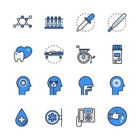 collection: fijó la atención sanitaria atención médica de la ciencia instrumento profesional del icono del vector plana equipos lineas. Web de los elementos de la interfaz web de color arte línea de aplicaciones para móviles DE APLICACIÓN objetos. La línea de última colección de iconos. Vectores