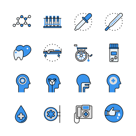 aplication: Health care medical help professional instrument science equipment lineart flat vector icon set. Web site interface elements color line art mobile app aplication objects. Line-art icons collection.