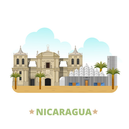 country style: Nicaragua country design template. Flat cartoon style historic sight showplace web site vector illustration. World vacation travel sightseeing North America collection. Leon Cathedral New Cathedral.