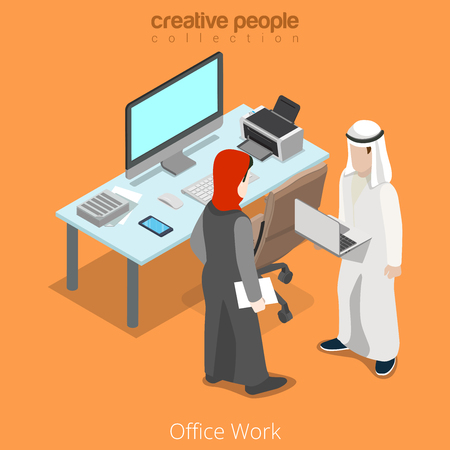 woman male: Isometric arabic islamic muslim businessman business office work meeting workplace concept vector illustration. Islam man male and hijab woman female. Flat 3d isometry style creative people collection
