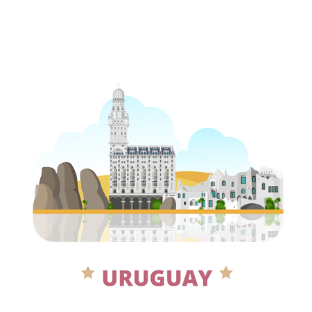 Uruguay country design template. Flat cartoon style historic sight showplace web site vector illustration. World vacation travel South America collection. Palacio Salvo in Montevideo La Mano Statue.