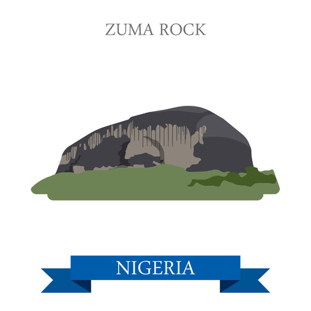 zuma: Zuma Rock in Nigeria. Flat cartoon style historic sight showplace attraction web site vector illustration. World countries cities vacation travel sightseeing Africa collection. Illustration