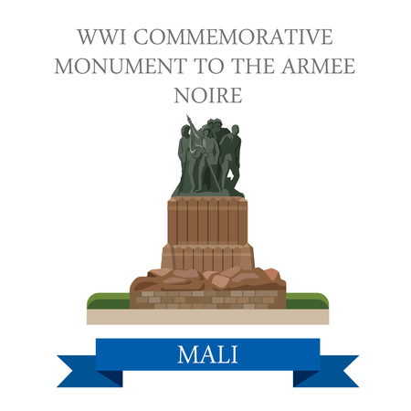 sightseeings: WWI Commemorative Monument to the Armee Noire in Mali. Flat cartoon style historic sight showplace attraction web vector illustration. World countries cities vacation travel sightseeing collection
