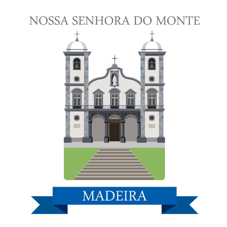 madeira: Nossa Senhora do Monte in Madeira. Flat cartoon style historic sight showplace attraction web site vector illustration. World countries cities vacation travel sightseeing Africa island collection. Illustration