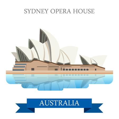 Sydney Opera House in Australia. stile cartone animato piatto storico vista vetrina illustrazione sito web attrazione vettore. World Travel Paesi Città vacanza visitare collezione australiano. Vettoriali