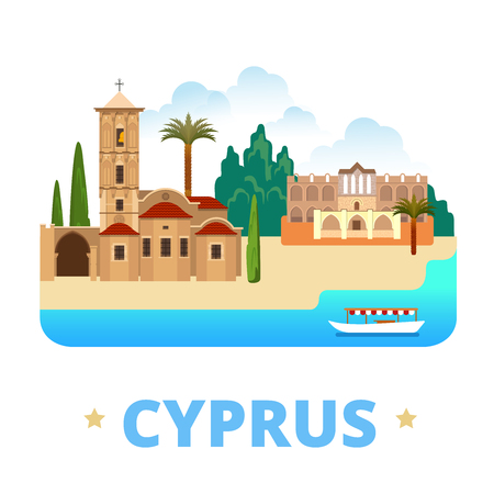 sightseeings: Cyprus country design template. Flat cartoon style historic sight showplace web site vector illustration. World vacation travel sightseeing Europe collection. Church of St Lazarus Bellapais Abbey