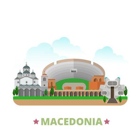 krajina: Makedonie země design šablony. Byt kreslený styl památka pozoruhodnost web vektorové ilustrace. World Travel Europe European kolekce. Ancient Dion Starý kamenný most St Church Clemente.