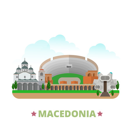 Macedonia country design template. Flat cartoon style historic sight showplace web site vector illustration. World travel Europe European collection. Ancient Dion Old Stone Bridge St Clemente Church.