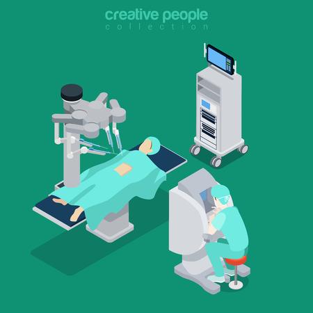 Robótica cirugía asistida por robot paciente moderna operador de equipo médico electrónico equipo médico del hospital. ilustración plana 3d estilo isométrica vector sitio web. personas colección creativa. Ilustración de vector