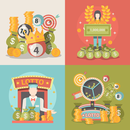 lucky money: Lucky life concept vector illustration set. People success web site banner image. Fortune money bag rich woman. Lotto croupier man coins dollars wreath lotto ball infographics on color background.