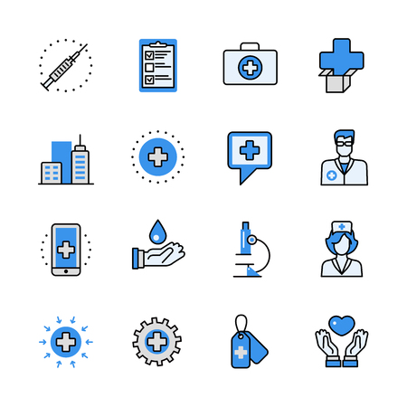 aplication: Health care medical help emergency ambulance doctor lineart flat vector icon set. Web site interface elements color line art mobile app aplication objects. Line-art icons collection. Illustration