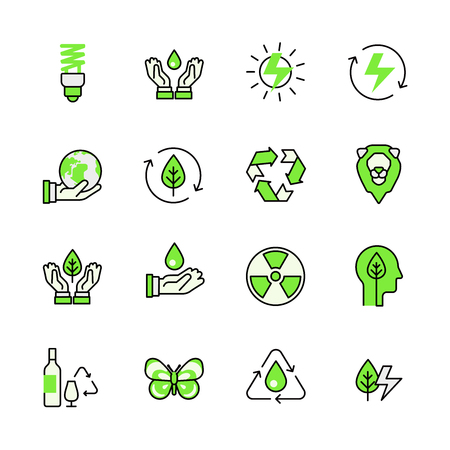 recycle icon: Alternative source energy green planet nature circulation recycling lineart flat vector icon set. Web site interface elements color line art mobile app aplication objects. Line-art icons collection.