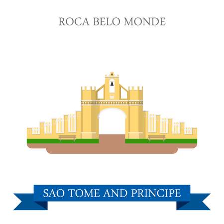 gates: Roca Belo Monte in Sao Tome and Principe. Flat cartoon style historic sight showplace attraction web site vector illustration. World countries cities vacation travel sightseeing Africa collection.