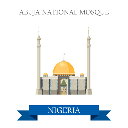 Abuja National Mosque in Nigeria. Flat cartoon style historic sight showplace attraction web site vector illustration. World countries cities vacation travel sightseeing Africa collection.