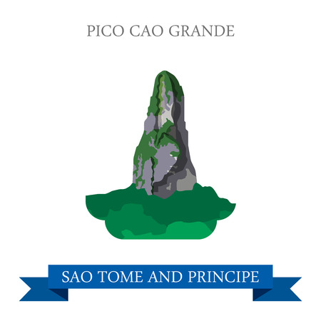 cao: Pico CAO Grande in Sao Tome and Principe. Flat cartoon style historic sight showplace attraction web site vector illustration. World countries cities vacation travel sightseeing Africa collection.