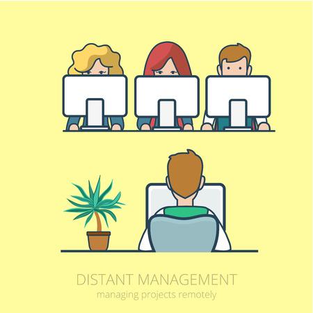 web site design: Linear line art business people distant work remotely project management concept flat icon. Infographics design web site elements vector illustration. Illustration