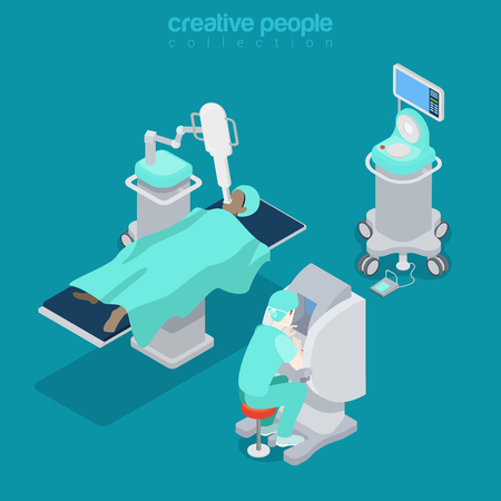 computer operator: Isometric medical hospital diagnostic computer electronic modern equipment doctor operator. Innovative medicine concept. Flat 3d isometry style web site vector illustration. Creative people collection