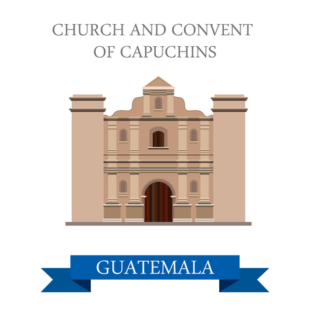 church building: Church and Convent of Capuchins in Guatemala. Flat cartoon style historic sight showplace attraction web site vector illustration. World countries cities vacation travel sightseeing America collection Illustration
