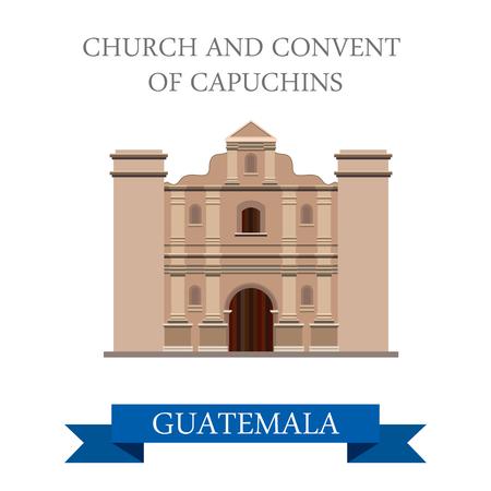krajina: Kostel a klášter kapucínů v Guatemale. Byt kreslený styl památka pozoruhodnost atrakce web vektorové ilustrace. Svět Zemi Města prázdniny jezdit vyhlídkové America sbírku